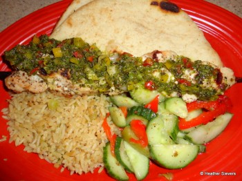 Chicken Skewer with Chimichurri Sauce