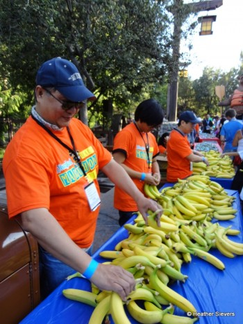 Volunteers Passing Out Bananas