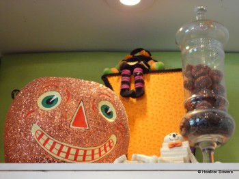 Giant Sparkly Pumpkin with its Skeleton & Witch Buddies