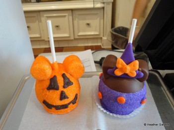 Mickey Pumpkin and Minnie Witch Caramel Apples