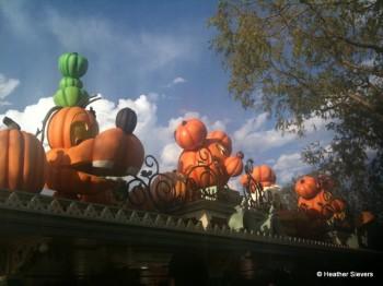Familiar Pumpkin Faces Line Disneyland's Main Gate