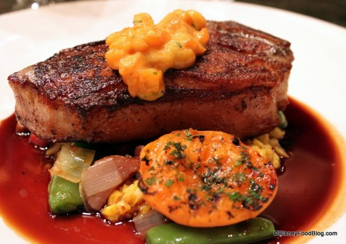 Veal Filet with Apricot Chutney and Summer Vegetables Entree