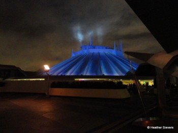 "Space Mountain in ""Halloween"" Lighting"