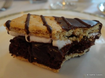 Chocolate Dipped Brownie Smores Close Up