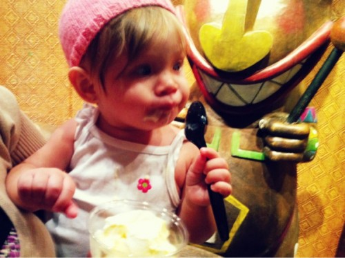 First Dole Whip for Baby Westfall! Photo courtesy Karen and Mike Westfall, who are awesome.
