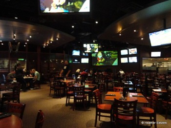 Dining Area Features Many Flat Screens