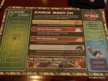 ESPN Zone Children's Menu