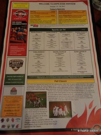 Specials and Sports Page