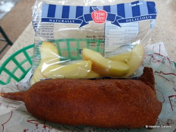 "Cheese on a Stick ""Meal"" with Apples from Corn Dog Castle"