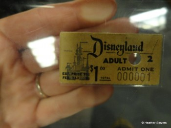 Holding Disneyland's Very 1st Entrance Tickey #000001