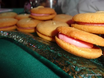 Sample Sized Homemade Almond Cookie Sandwich with Strawberry Creme