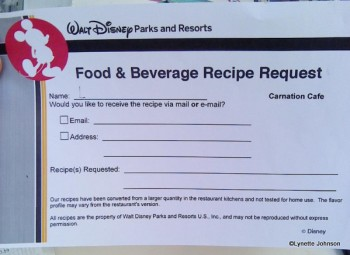 Food & Beverage Recipe Request Form