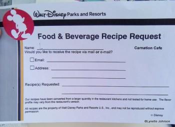 Food & Beverage Recipe Request Form