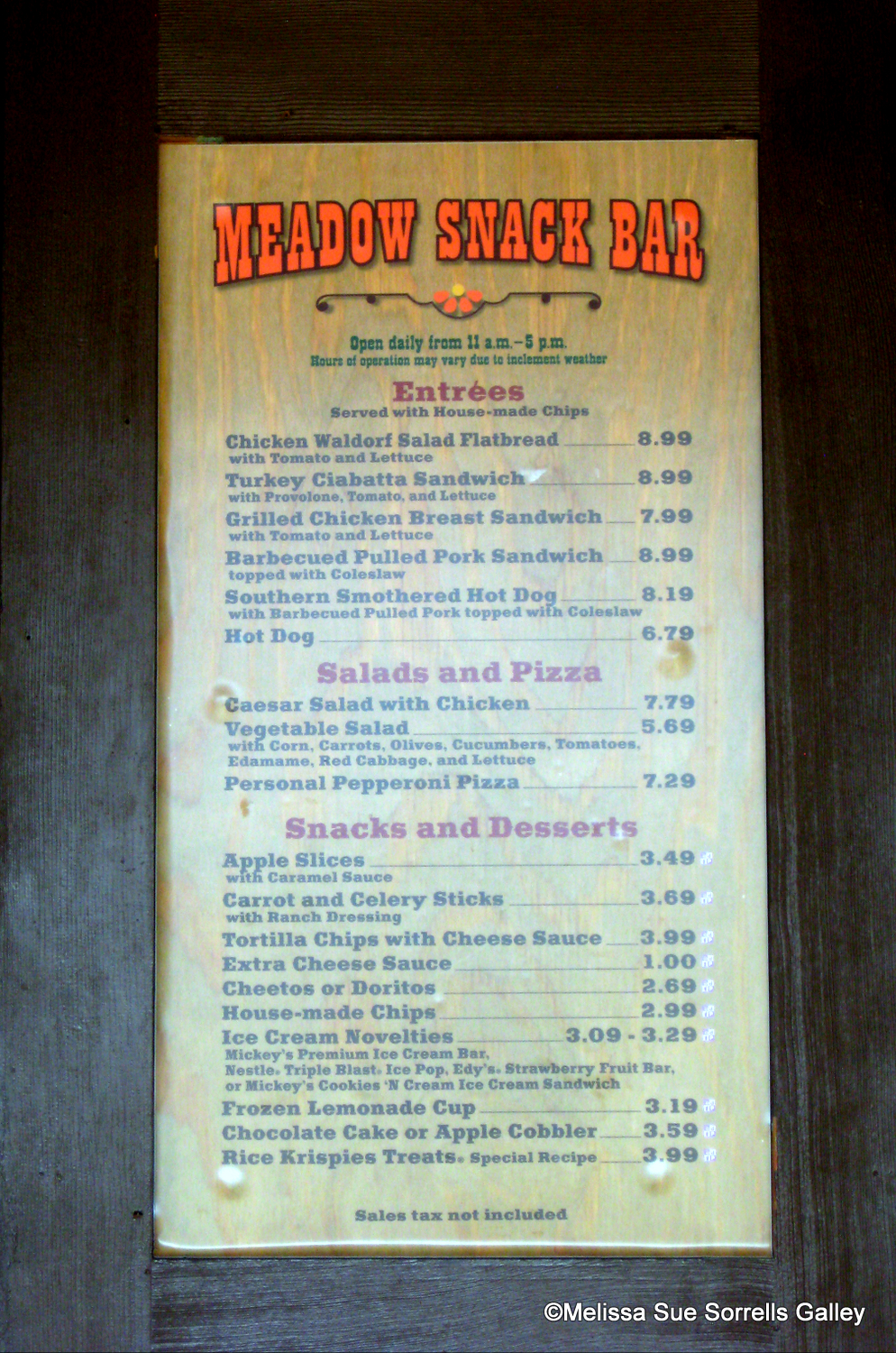 Guest review meadow snack bar at fort wilderness resort for Bar 88 food menu