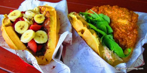 Chicken Waffle Sandwich and Nutella and Fruit Waffle Sandwich