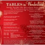 Tables in Wonderland: December 2011 Special Events