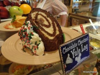 Yule Log Cake Display Side View