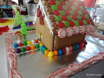 We added gumball siding, a mini candy cane border and a Christmas tree!