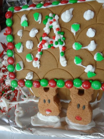 """This house was personalized with an """"A"""" and had some cute Reindeer """"Peeps."""""""
