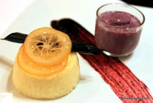 Lemon Pudding Cake with Blueberry Shake