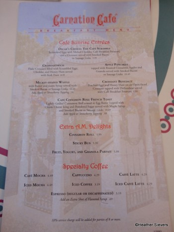 Carnation Cafe Breakfast Menu