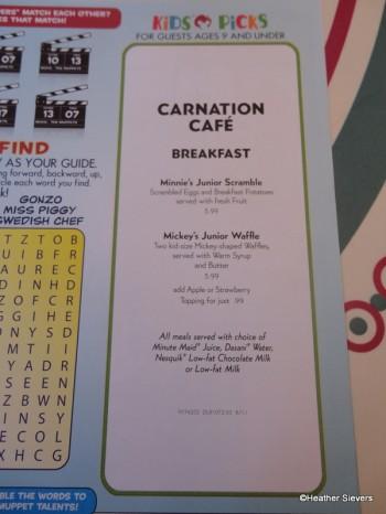 Carnation Cafe Kids' Picks Breakfast Menu