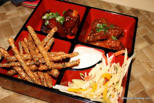 pu pu platter -- tamarind glazed pork wings - asian wings - chinese long beans - green papaya slaw - sriracha aioli