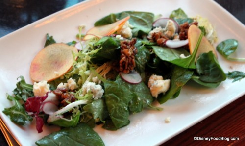 Mixed Field Greens with Shaved Stone Fruit, Sun Flower Seed Granola, Rogue Creamery Blue Cheese, and Ice Wine Vinaigrette