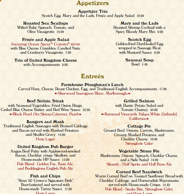 Menu changes epcot s rose crown pub and dining room for French canape menu