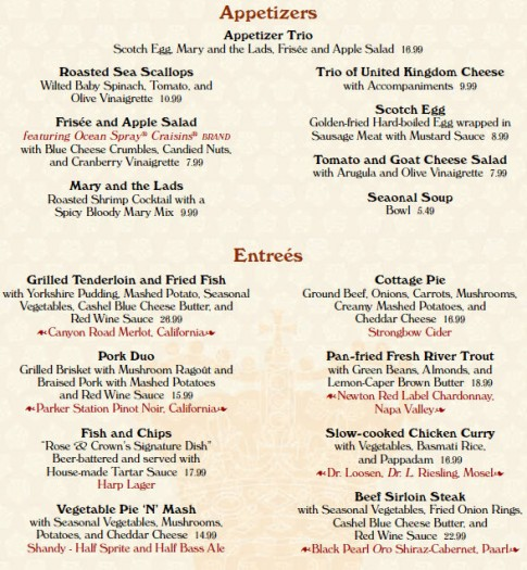 rose and crown dining room | Menu Changes: Epcot's Rose & Crown Pub and Dining Room ...