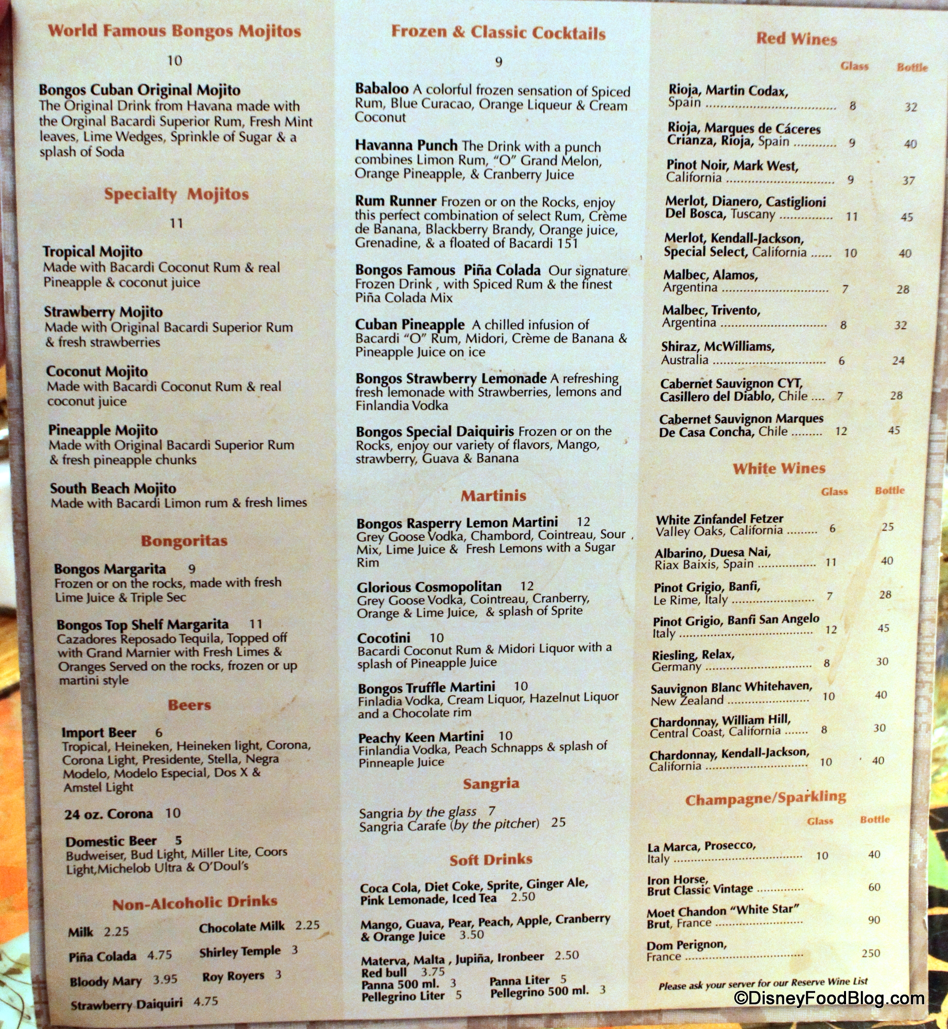 Bongos Cafe Menu Disney