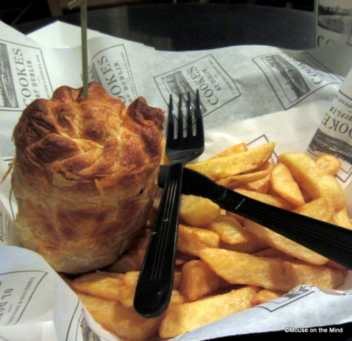 Beef and lamb pie with chips.