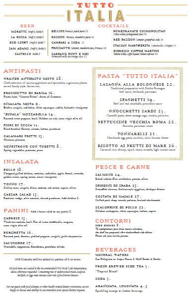 New re vamped tutto italia menus in epcot the disney for Tutete italia