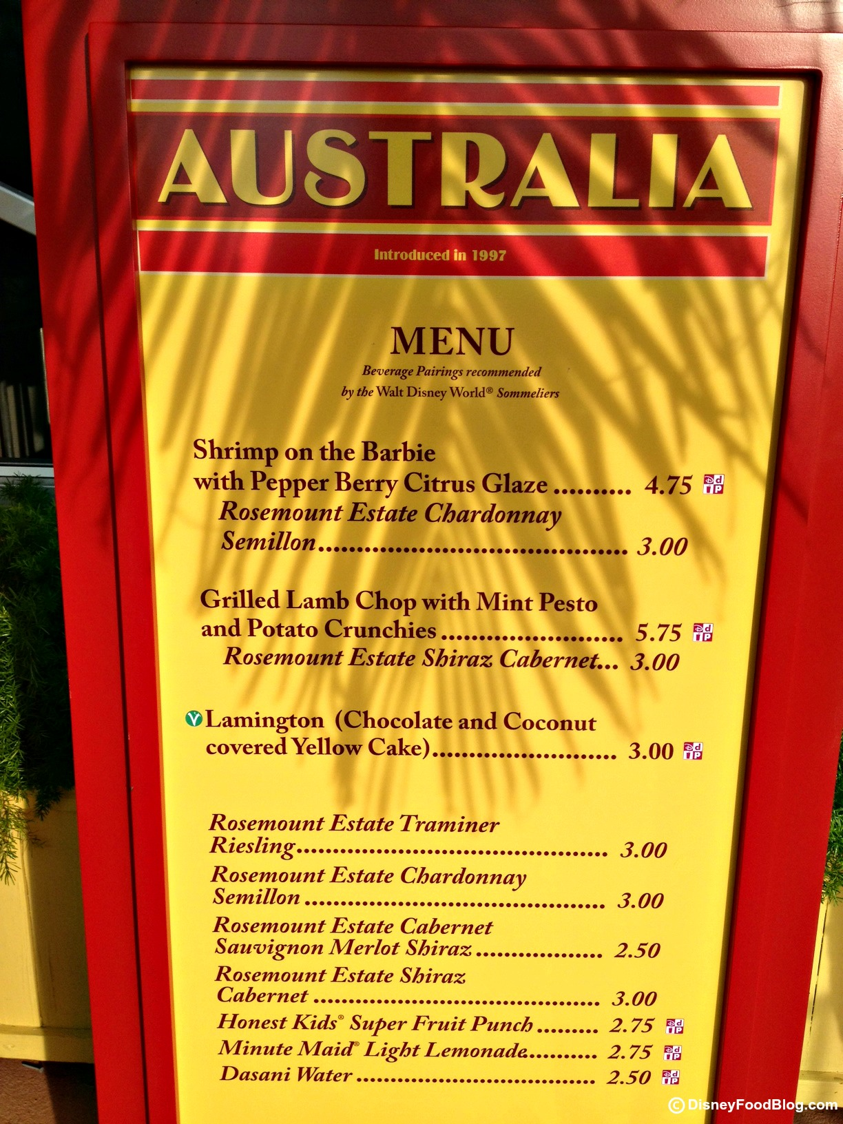 Australia 2012 epcot food and wine festival the disney for Australian cuisine menu
