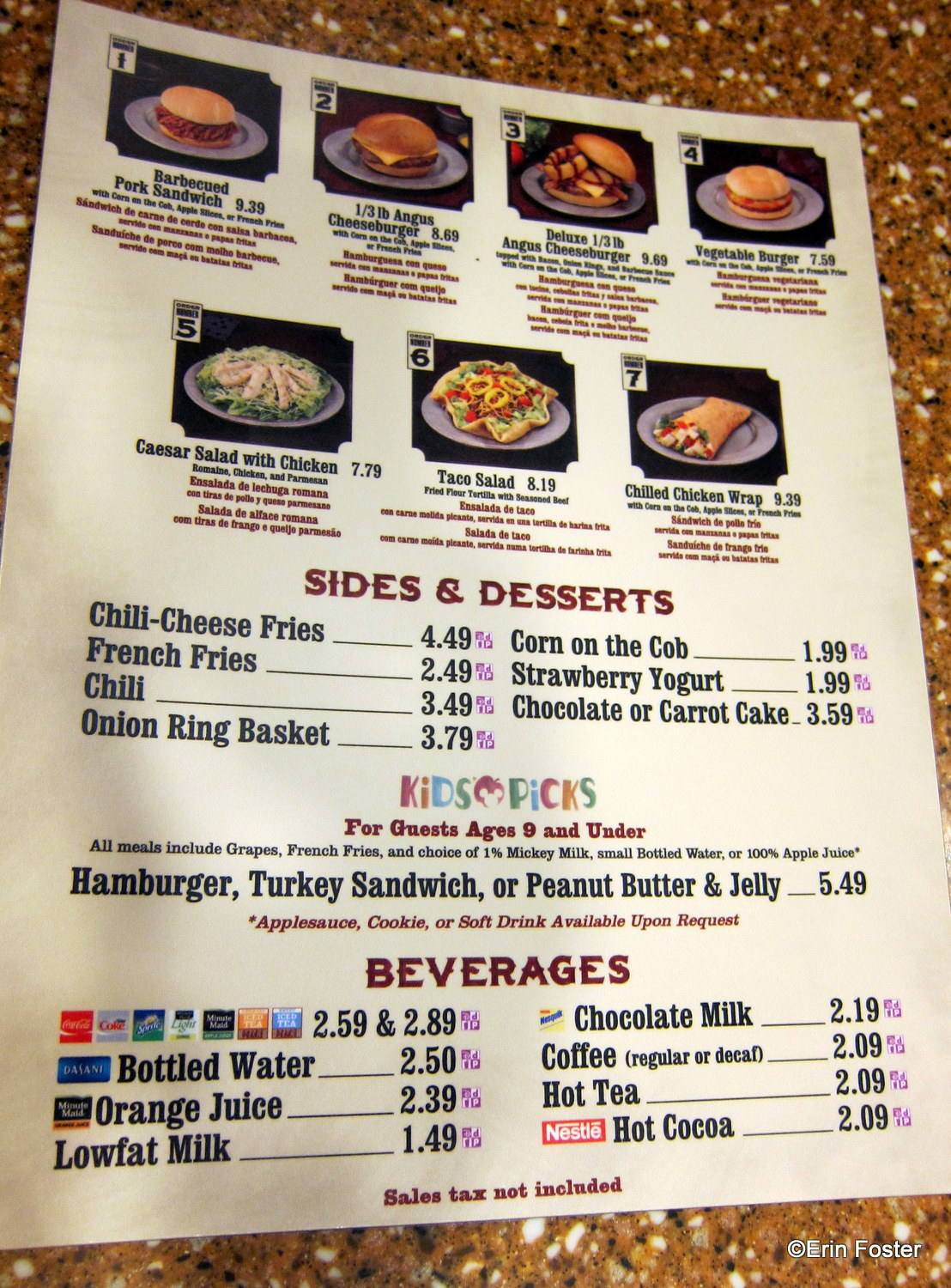 Pecos Bill Cafe Menu Disney
