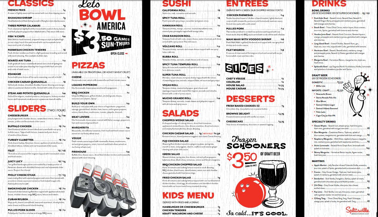 Image result for splitsville anaheim menu