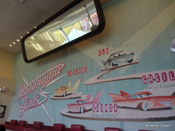 Giant Rear View Mirror & Adorable Moto Rama Girls Mural in Dining Room