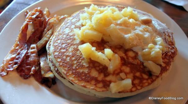 Macadamia Pineapple Pancakes with Bacon