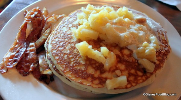 Macadamia Pineapple Pancakes with Bacon