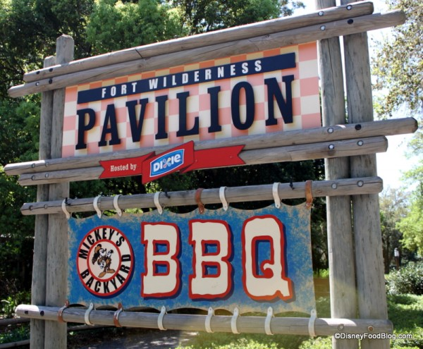 Mickey's Backyard BBQ sign