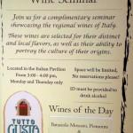 News! Tutto Gusto Wine Cellar Offers Complimentary Wine Seminars