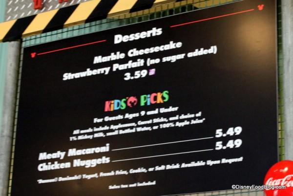 Desserts and Kids Picks Menu - Click to Enlarge