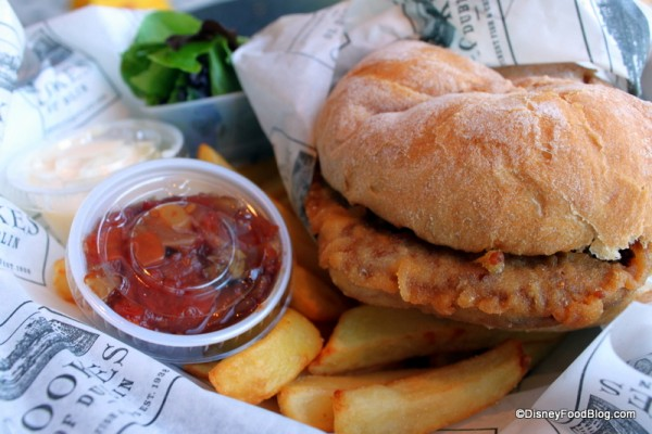 Battered Burger and Chips from Cookes of Dublin