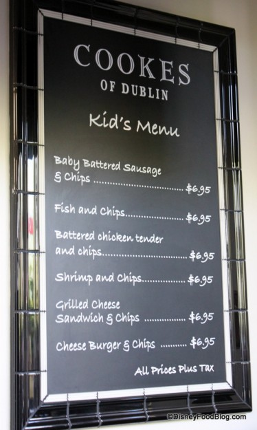 Kid's Menu - Click to Enlarge