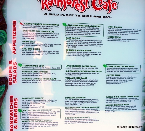 Rainforest Cafe Menu Disneyland Paris