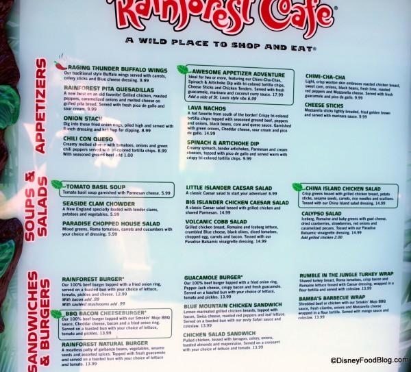Rainforest Cafe Food Allergy Menu