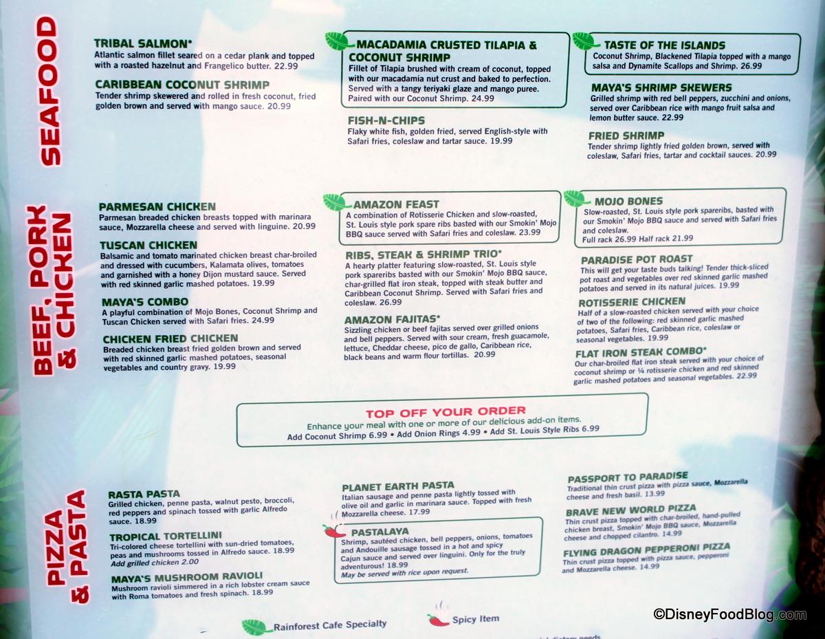 Rainforest Cafe Menu Disneyland Prices