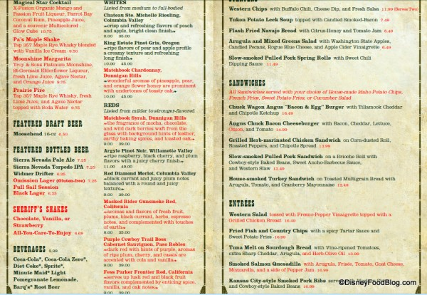 Whispering Canyon Cafe Lunch Menu