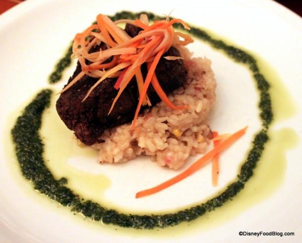 Charred Filet of Beef over a Zellwood Corn and Pancetta Risotto, Arugula Pesto, and Pickled Rainbow Carrots