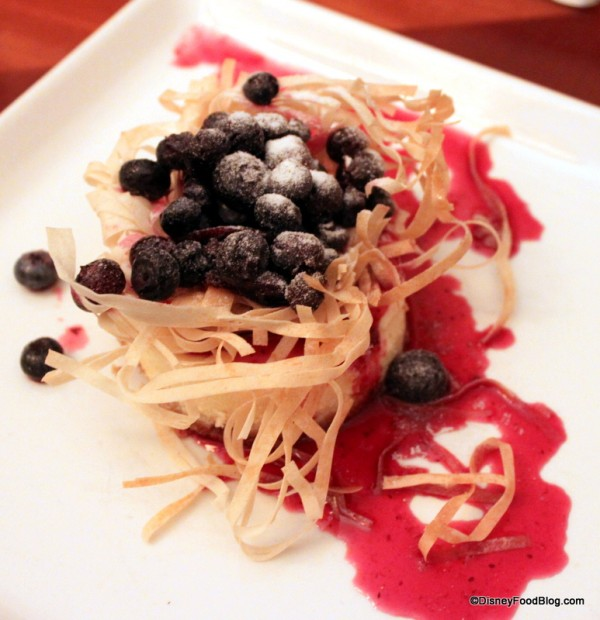 Citrus Honey Nest filled with Candied Ginger Blueberries over a Lemon ...